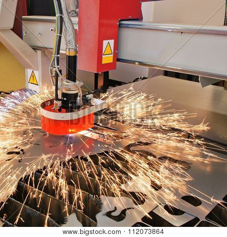 The image of a plasma cutting