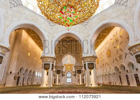 Sheikh Zayed Mosque In Abu Dhabi Interior View