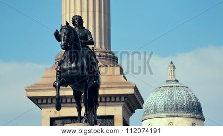 Trafalgar Square with Nelsons Column and statue in London