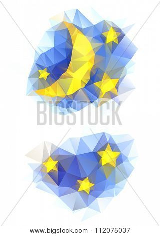 vector polygonal set with moon and stars