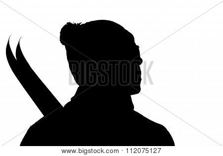 Black Silhouette Of The Skier Closeup With Skis On A White Background