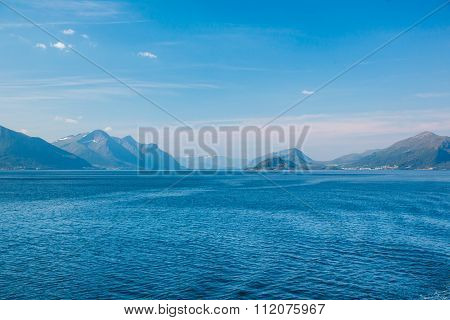 View Of The Mountains On The Horizon In The Norwegian Sea