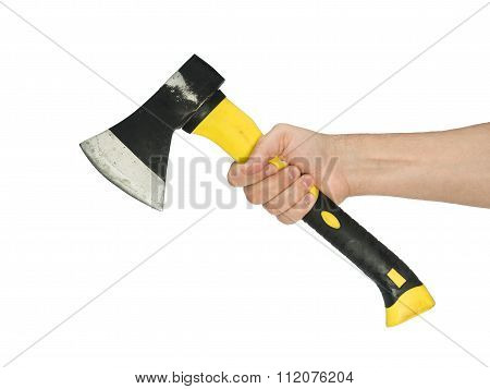 Axe In His Hand With Wooden Handle