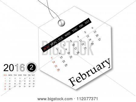 February 2016 - Calendar series for tag design