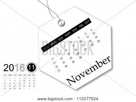 November 2016 - Calendar series for tag design