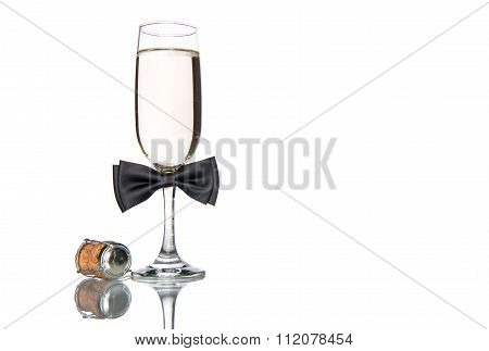 Glass Of Champagne With Black Bow Tie, Celebration Holiday