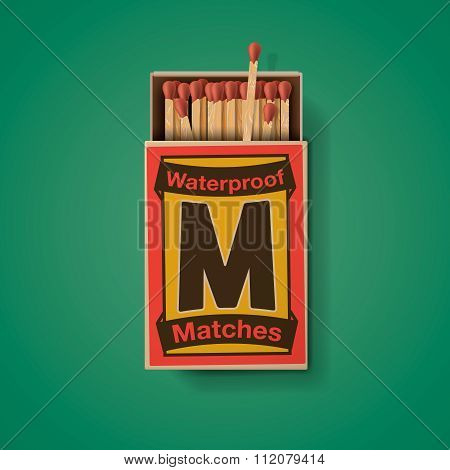 Matchbox and matches, top view