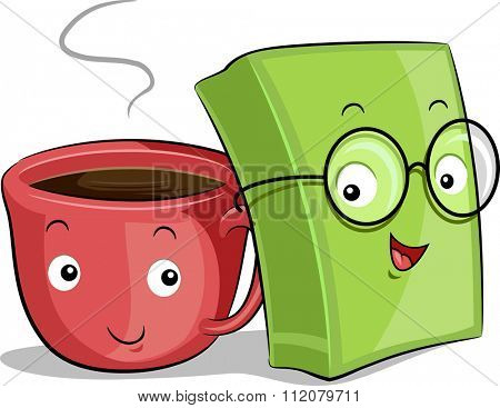 Mascot Illustration of a Cup of Coffee and a Book Placed Side by Side