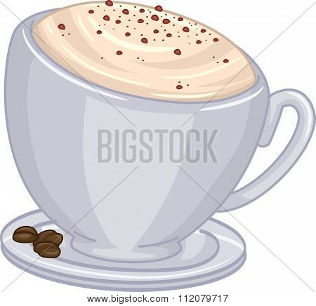 Illustration of a Cup of Cappuccino with Chocolate Toppings
