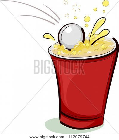 Illustration of a Ping Pong Ball Falling Right into a Cup