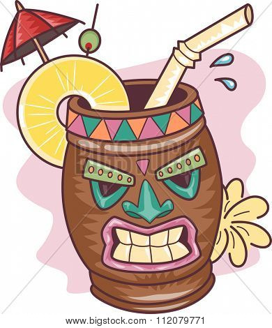 Illustration of a Tropical Drink in a Tiki Mug