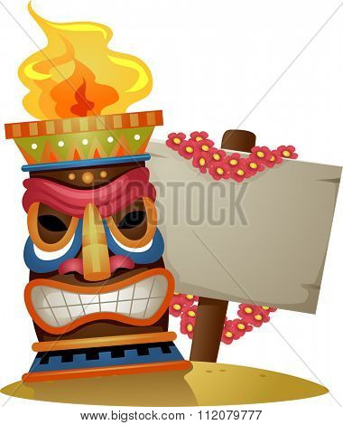 Illustration of a Tiki Torch Standing Beside a Blank Board