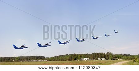 Seven Planes  Over The  Aerodrome
