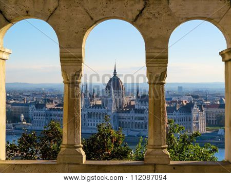 Scenic view of the Hungarian Parliament and Pest roofs