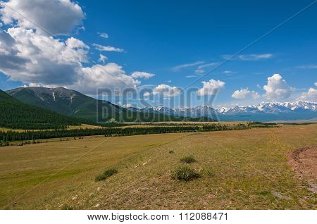 Steppe Mountain Snow Forest Valley