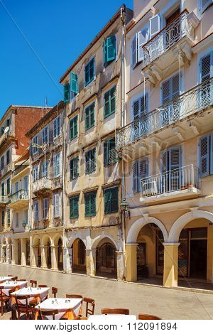 Typical Buildings In Old City, Kerkyra, Corfu Island, Greece