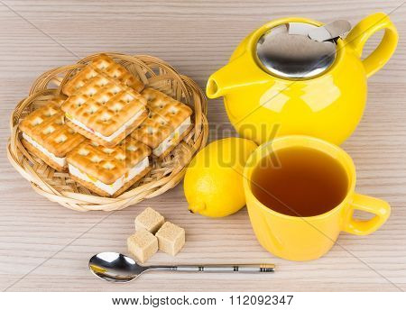 Cup Of Tea, Biscuits, Lemon And Lumpy Sugar