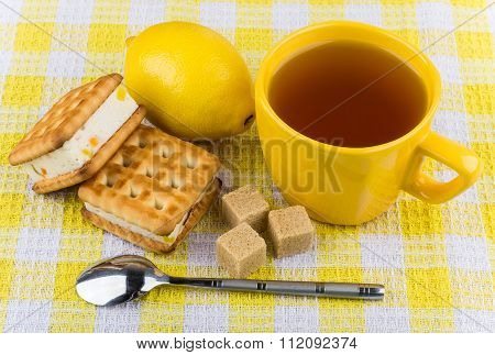 Biscuits Sandwiches, Cup Of Tea, Lemon And Sugar