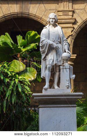Columbus Statue In Palacio De Los Capitanes, Havana