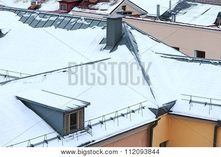 Roofs Of Residential Houses In Winter Time