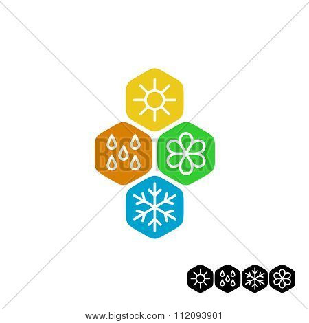 All Season Symbol. Winter Snowflake, Spring Flower, Summer Sun, Autumn Rain Weather Signs. Linear St