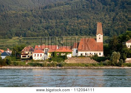 A Small Medieval Town On The River Danube In Austria