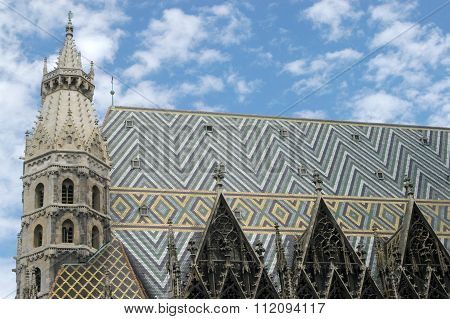 The Artistic Roof Of The Basilica Of Saint Stephen In Vienna In Austria
