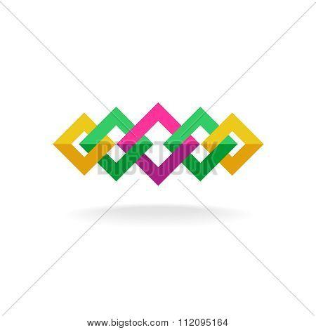 Colorful Square Frames Links Logo