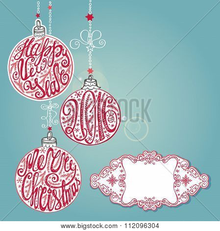 New year 2016,Christmas card ,lettering balls.Blue