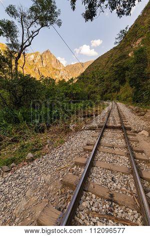 Railway Track And Machu Picchu Mountains, Peru