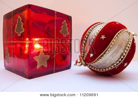 Christmas ball and candle holder