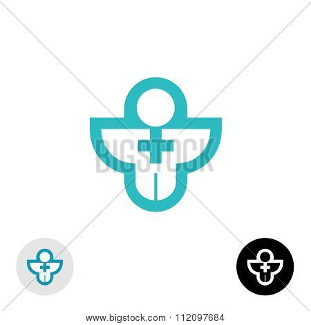 Man With Cross Religion Or Medical Logo