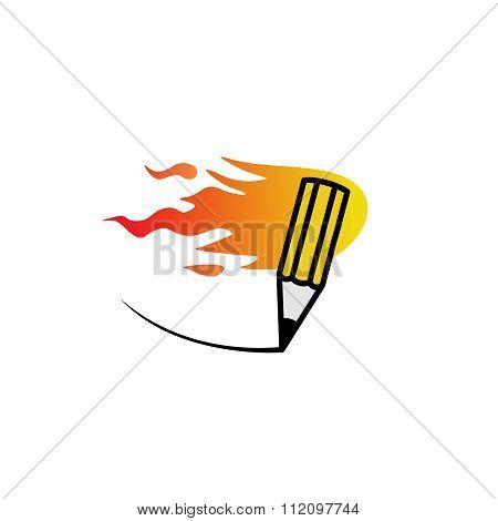 Fast Fire Pencil Logo