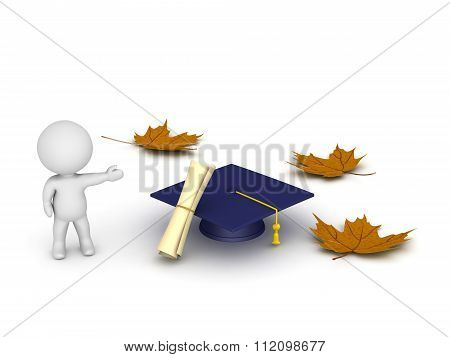 3D Character Showing Graduation Cap Diploma And Autumn Leaves