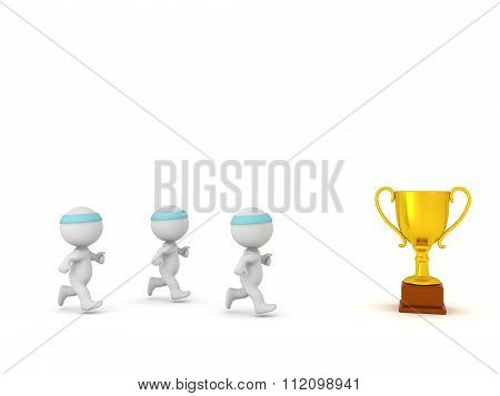 3D Characters Jogging Toward Golden Trophy