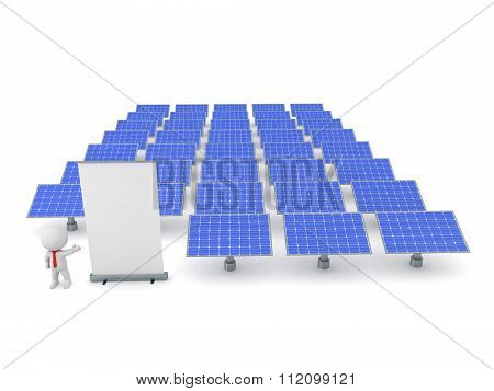 3D Character Businessman Showing A Rollup Poster And Solar Panels In The Background