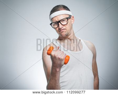Funny Weak Man Lifting Biceps