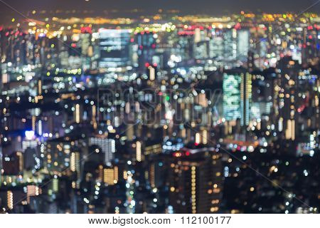 Blurred bokeh multiple colours lights Tokyo city downtown