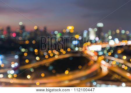 Abstract blurred bokeh light, city road interchanged