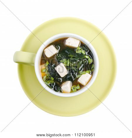 Japanese Miso Soup In A Green Bowl. Isolated On White Background