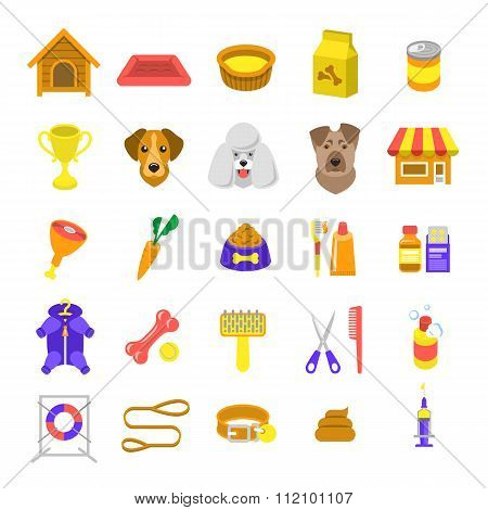 Flat Colorful Dog Care Vector Web Icons Isolated On White