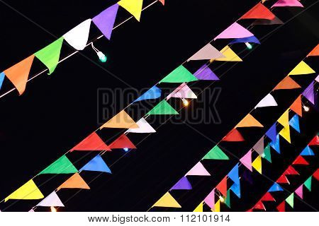 Flag For Decorate In Christmas Eve Isolated On Black Background