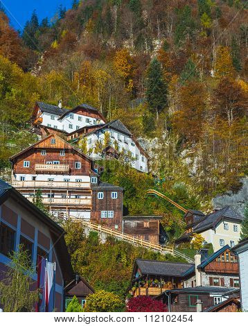 Buildings In Hallstatt Up The Mountain In The Autumn