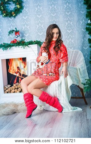Pregnant Woman In New Year And Christmas