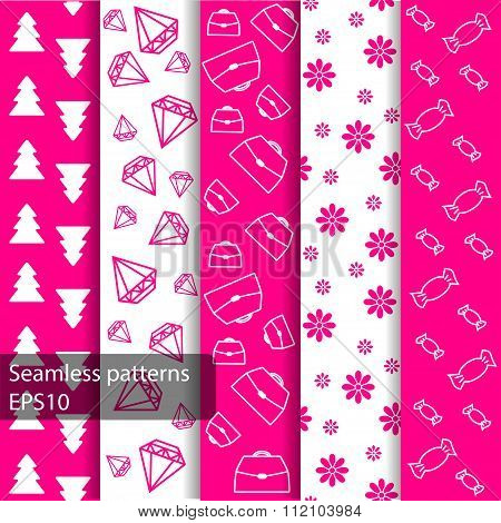 Set Of Seamless Patterns And Backgrounds For Girls