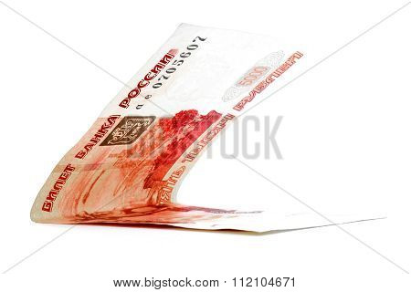 Five Thousand Russian Rouble Income Folded Isolated On White Background