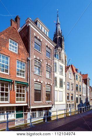 Vintage Houses On Canals System, Delft, Netherlands