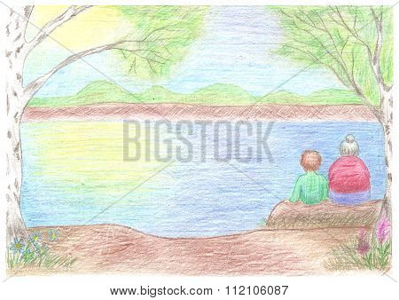 Beautiful landscape with grandmother and grandson sitting on log, admire a nature