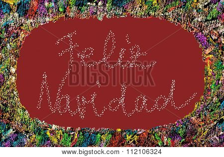 Colorful Frame Image On Red Background With Text Feliz Navidad