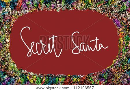 Colorful Frame Image On Red Background With Text Secret Santa